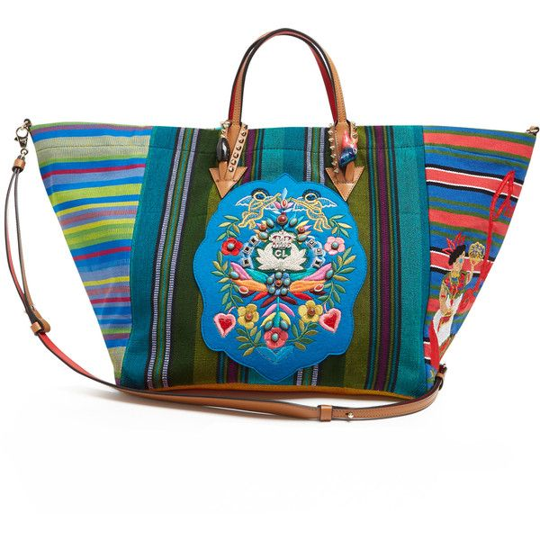 Mexicaba crest-embroidered striped tote Christian Louboutin... ($1,405) ❤ liked on Polyvore featuring bags, handbags, tote bags, striped totes, handbags tote bags, tote handbags, tote bag purse and striped tote bag