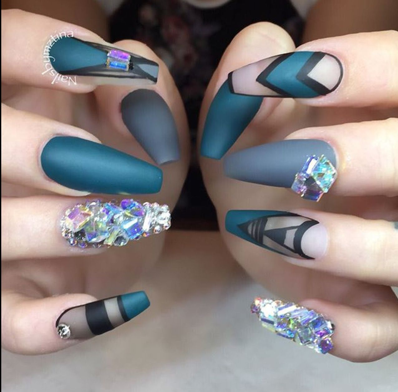 Matte Blue And Black Coffin Ballet Nails With Stones And Embellishments Милые ногти