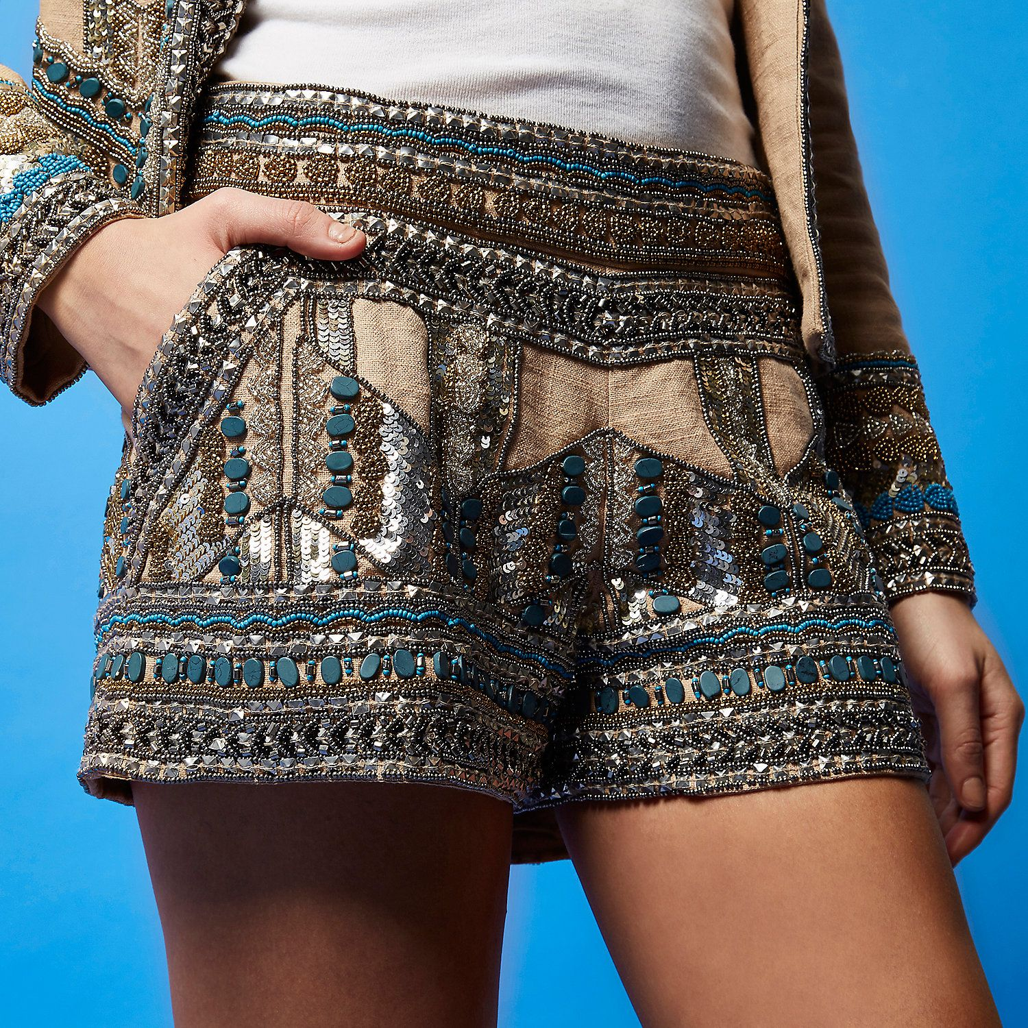 clearance sale really comfortable best price heavily embellished shorts RI studio River Island SS16 680521_main ...