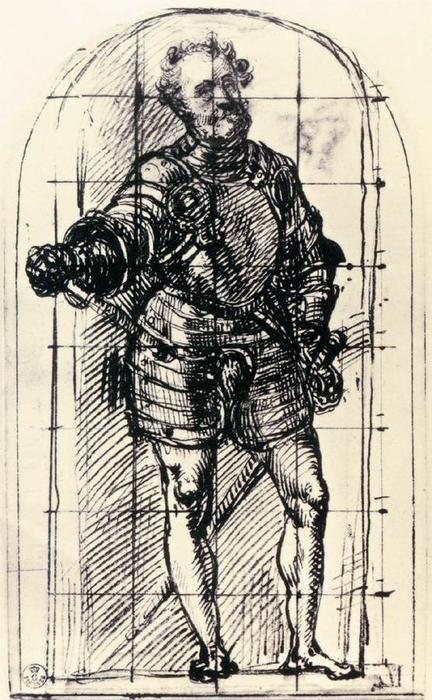 Estudo para o duque de Urbino, 1536 por Tiziano Vecellio (Titian) (1489-1576, Italy)