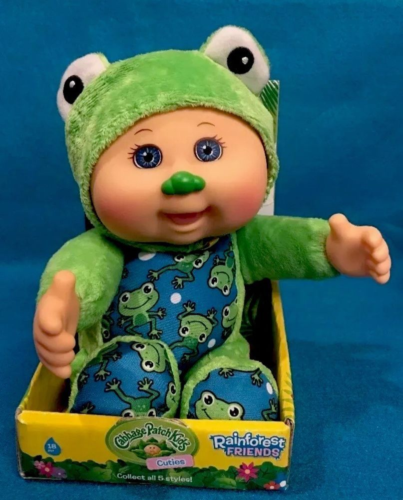New Cabbage Patch Kids Cuties Rainforest Friends Freddie Frog Plush Doll 1 Wickedcooltoys Patch Kids Cabbage Patch Kids Cool Toys