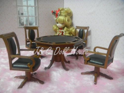 1-12-scale-dollhouse-miniature-Collectible-furniture-gaming-table-and-4-chairs