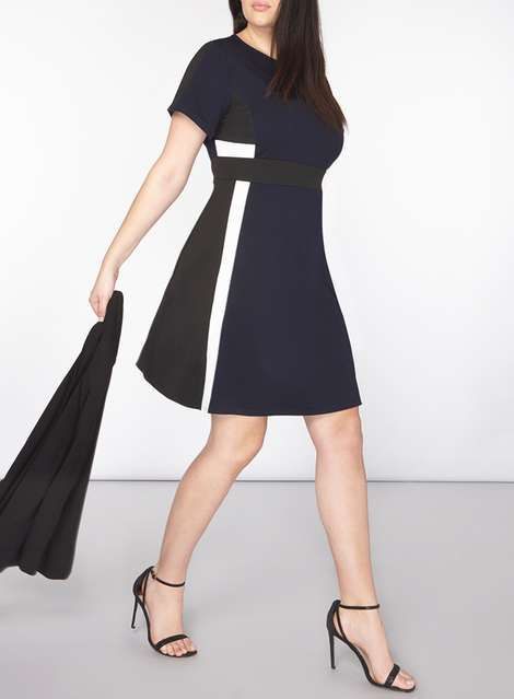 ac76eccee97 DP Curve Navy Colour Block Fit And Flare Dress - Plus Size Dresses - Dresses  - Dorothy Perkins United States