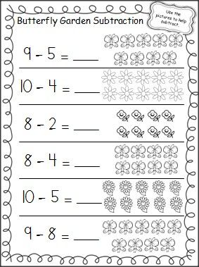 butterfly garden subtraction worksheet teacher ideas kindergarten math subtraction. Black Bedroom Furniture Sets. Home Design Ideas