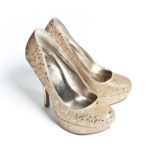 Qupid Women's High Heel Platform Bridal Glitter Shoes Round Toe Pump, Champagne Leatherette, 7.5 M US  $39.99
