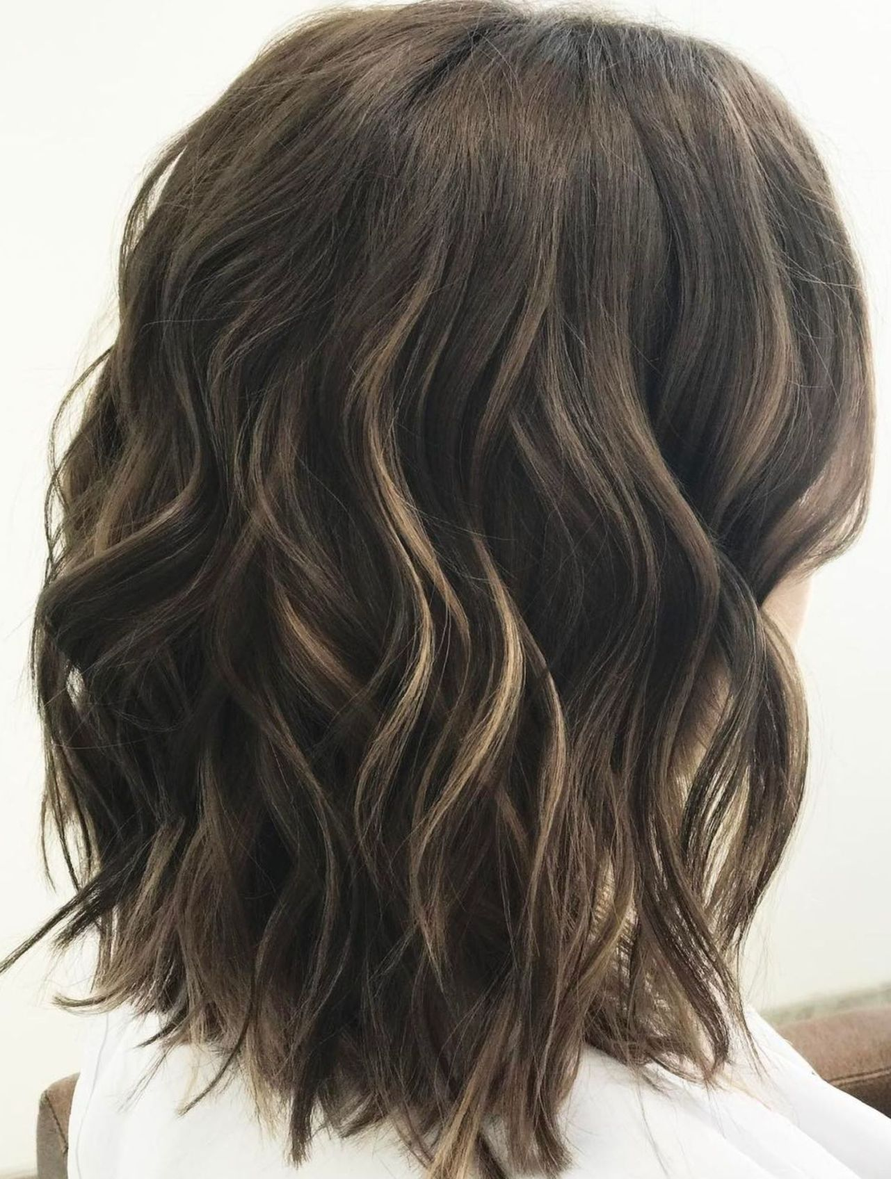 Medium Wavy Brunette Hairstyle  Haircut for thick hair, Curls for