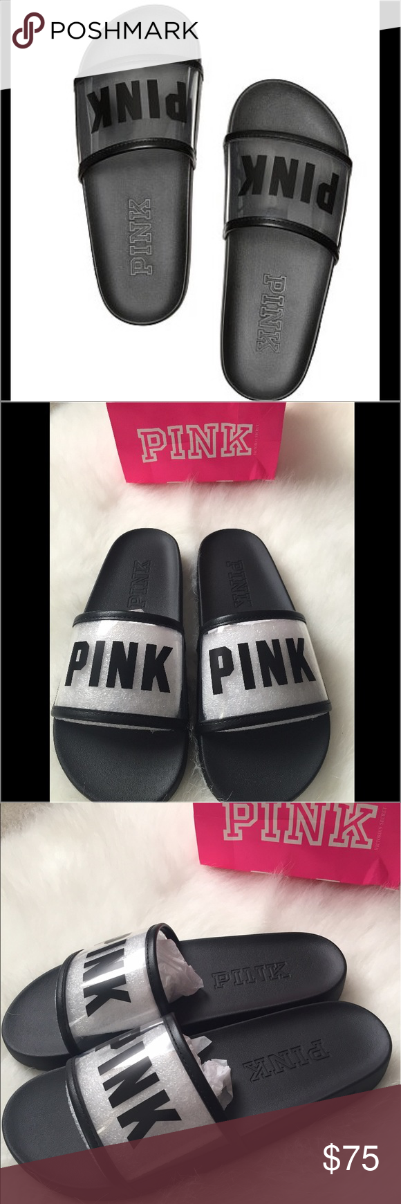 183e38052885 Victoria s Secret PINK Clear Single Strap Slides 💕Make these your go-to  slide for