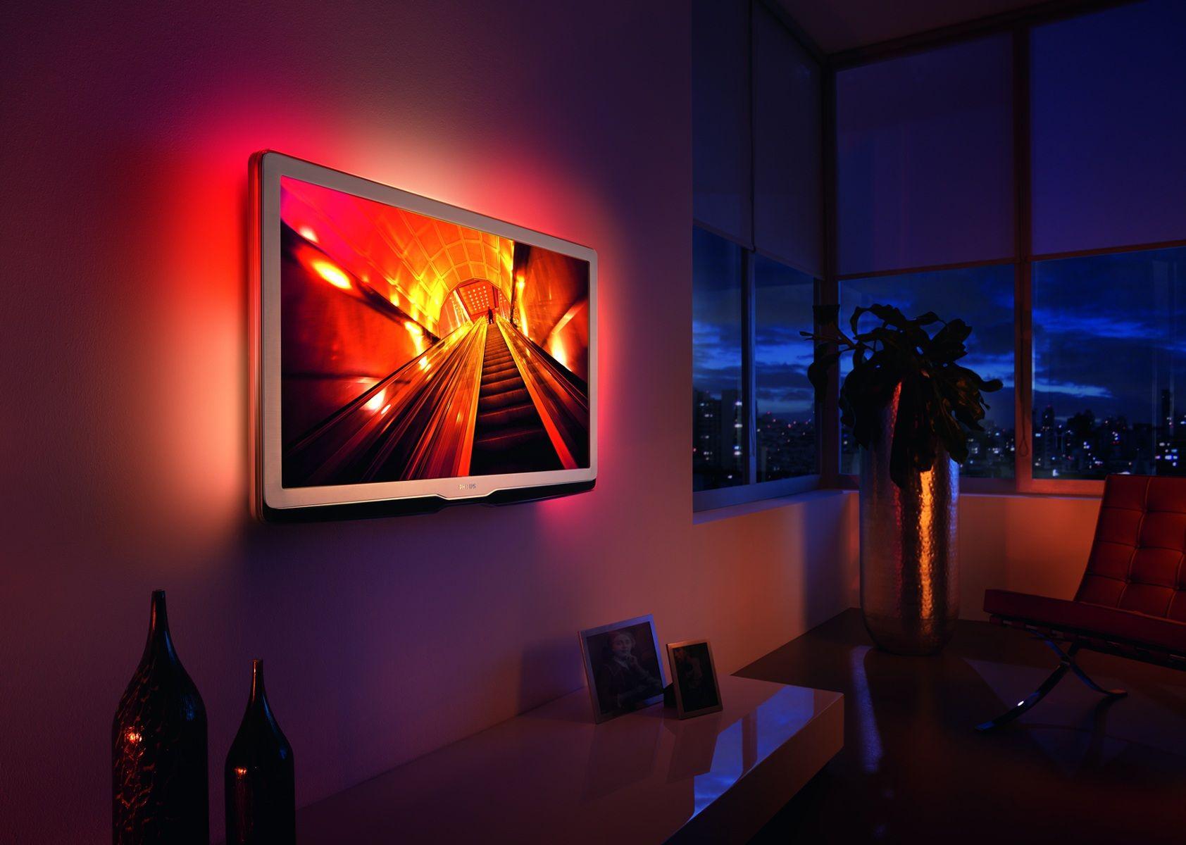 LED strip lights behind TV  ROOM  ConservatoryBar  Pinterest