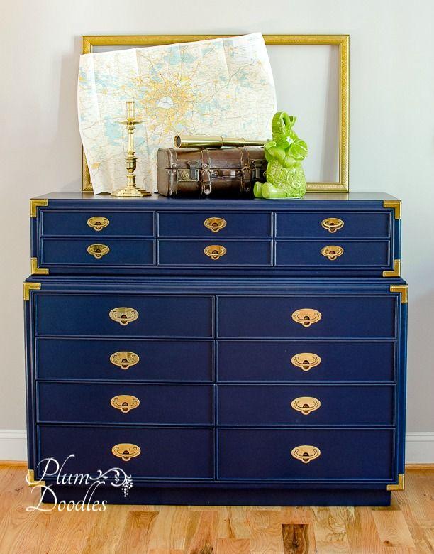 Campaign Dresser Painted Dark Royal Blue Campaign Dresser