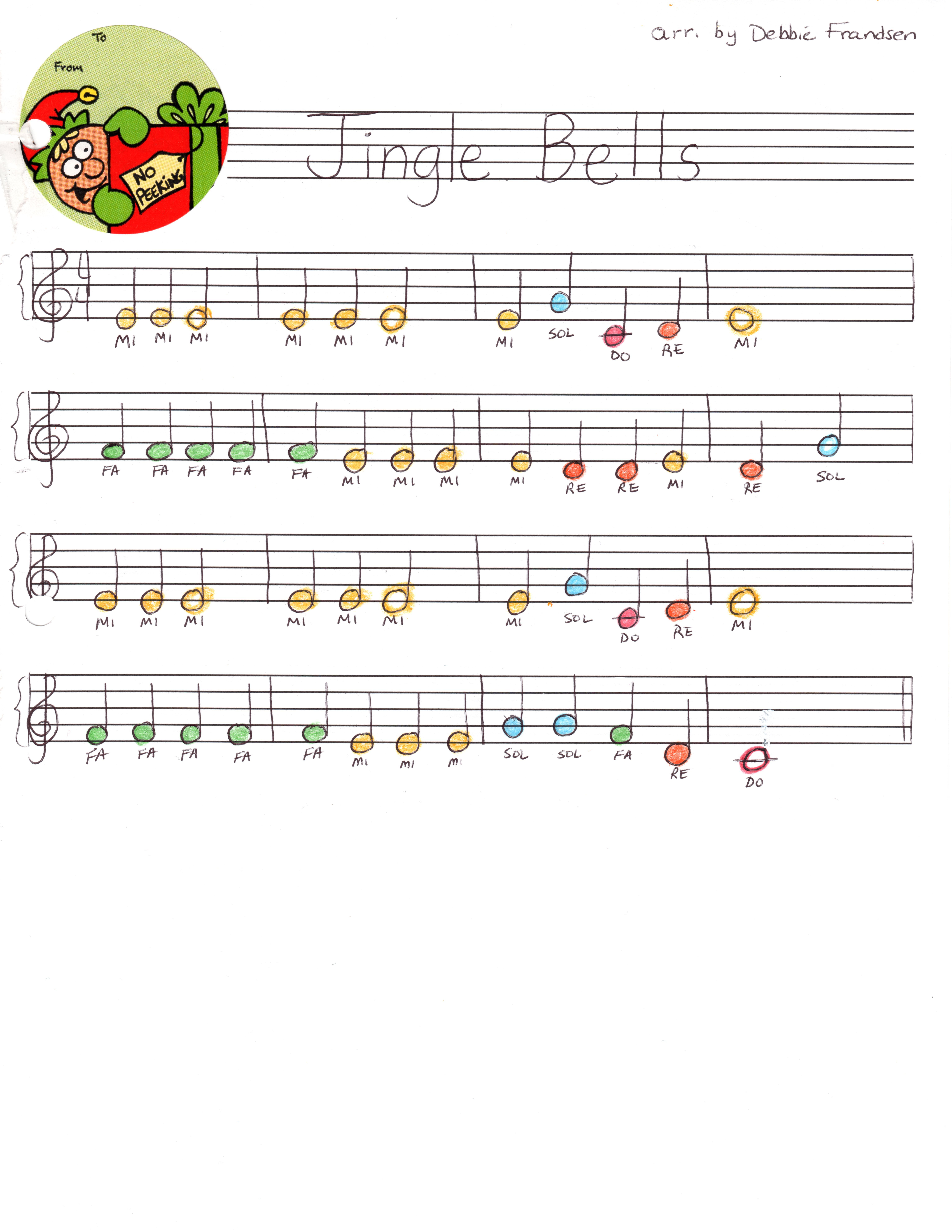 Jingle Bells Bell Music Color Coded For Bells Let S