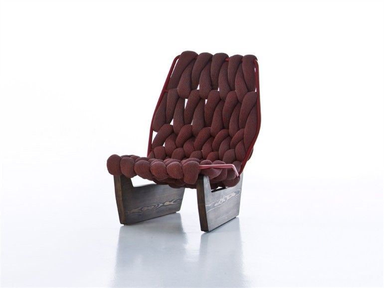 Wooden armchair BiKnit Collection by MOROSO