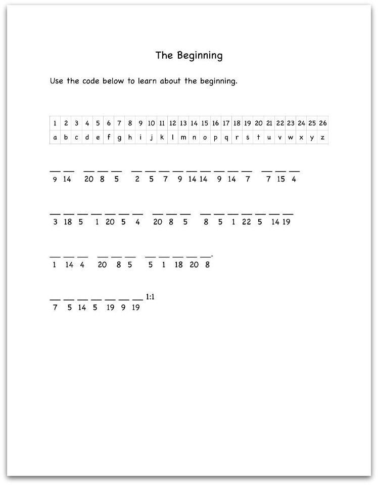 Genesis 1:1 Bible Decoding Worksheet | SS Mystery | Pinterest ...