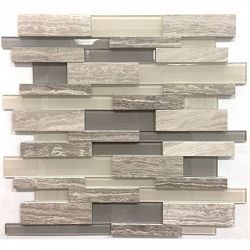 Avenzo Backsplashes Wall Tile X Wooden Light Grey Stone And Glass Linear Mosaic