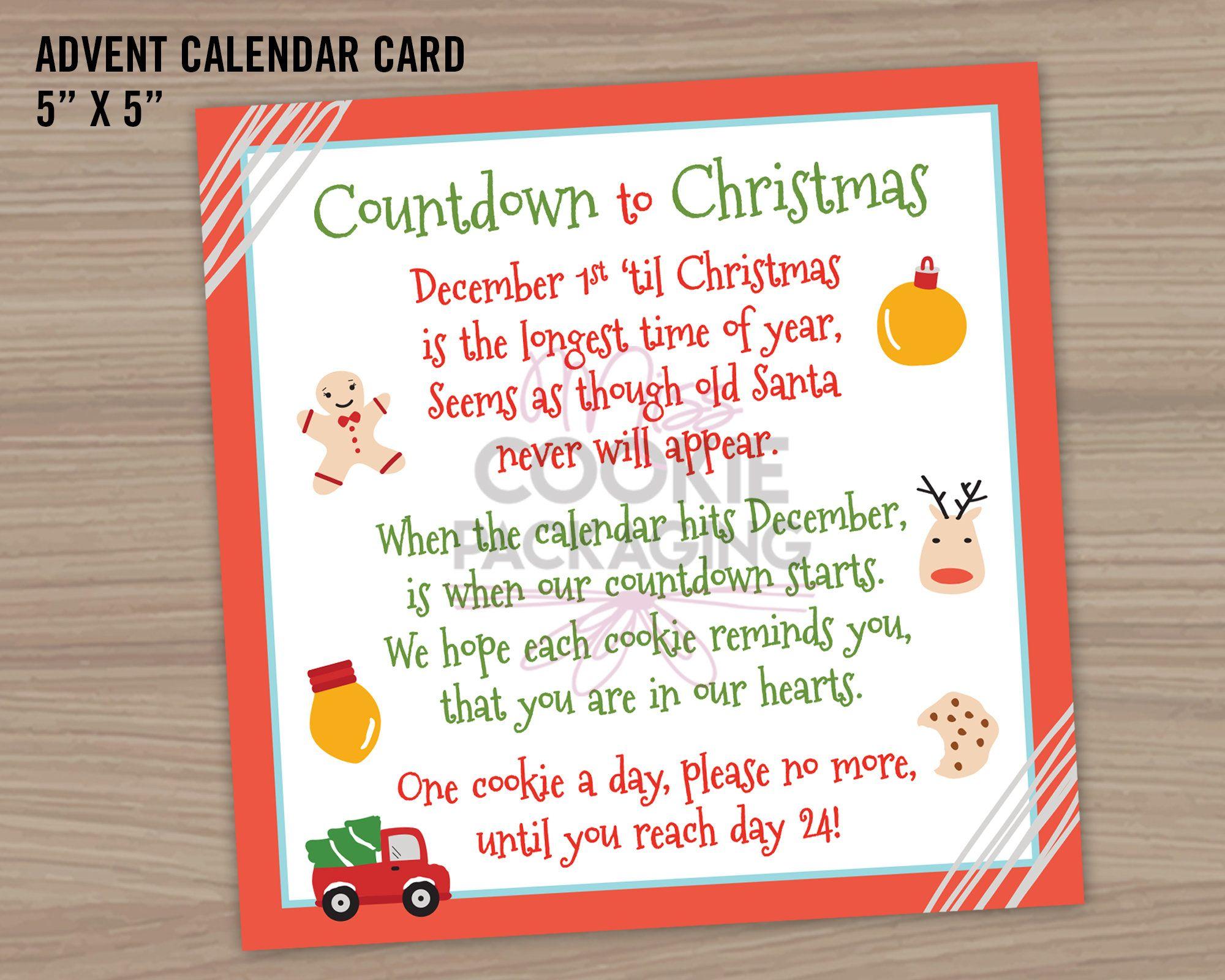 Advent Calendar Poem 5 X 5 Printable Card Etsy Printable Advent Calendar Calendar Gift Tag Advent