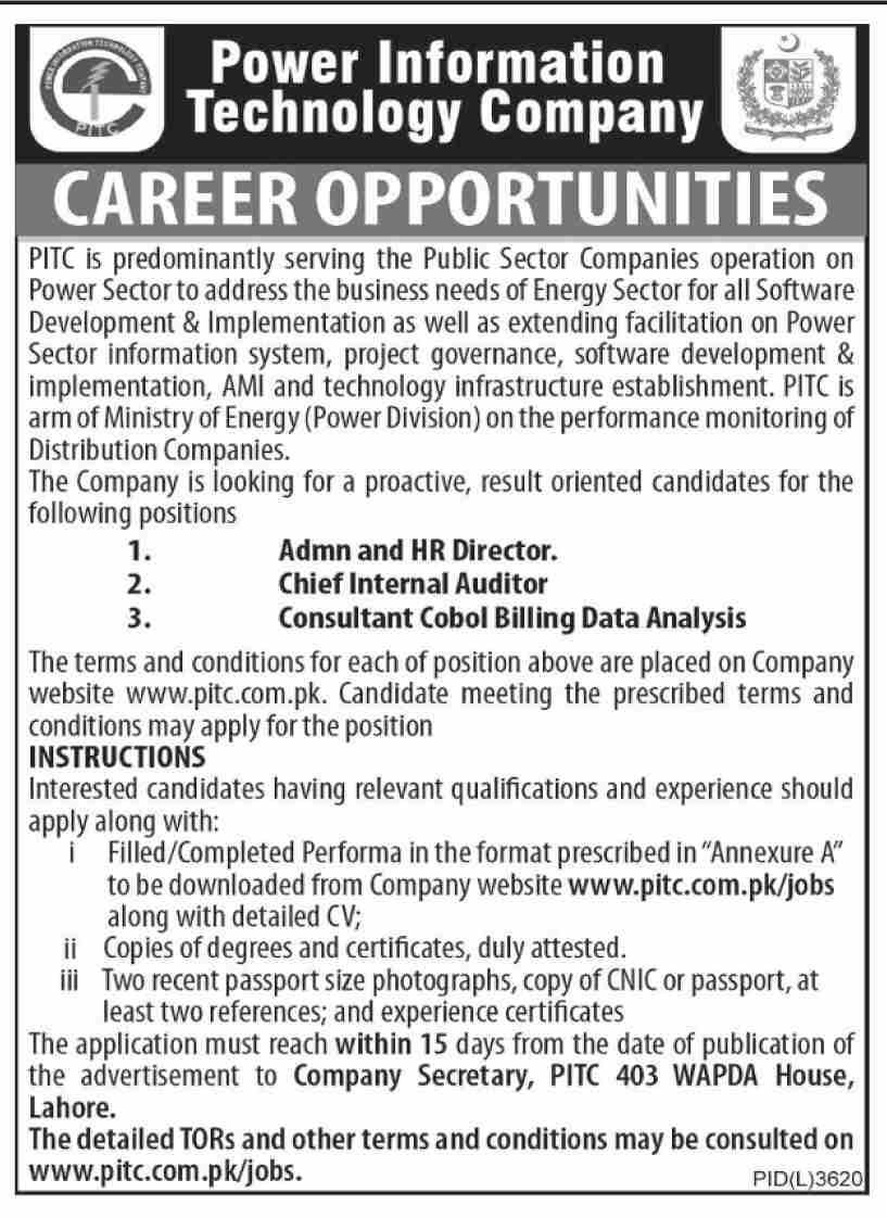 Power Information Technology Company Pitc Advertisement 2020 Information Technology Job Posting Job Letter