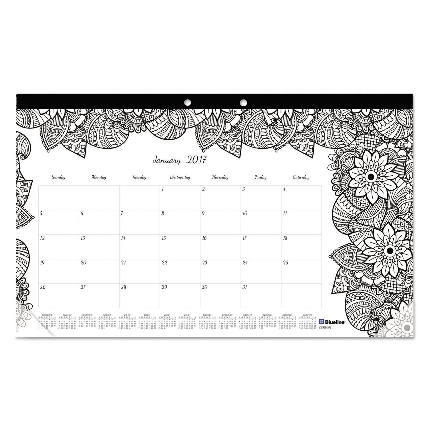 Doodleplan Desk Calendar W/coloring Pages, 17-3/4
