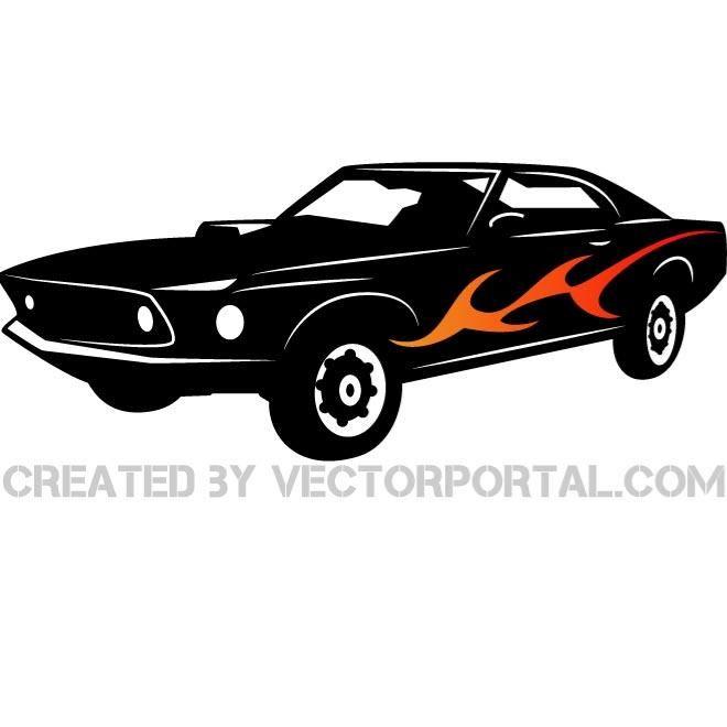 American Muscle Car Vector Illustration Vehicles Free Vectors