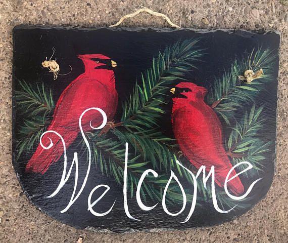 2 CARDINAL BIRD Birds Hand Painted WELCOME Roofing 11 x 13