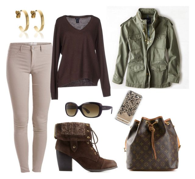 """""""Fall wear"""" by gallant81 ❤ liked on Polyvore featuring Pieces, American Eagle Outfitters, GANT, Charlotte Russe, BAM-B, Louis Vuitton, Ray-Ban and Casetify"""
