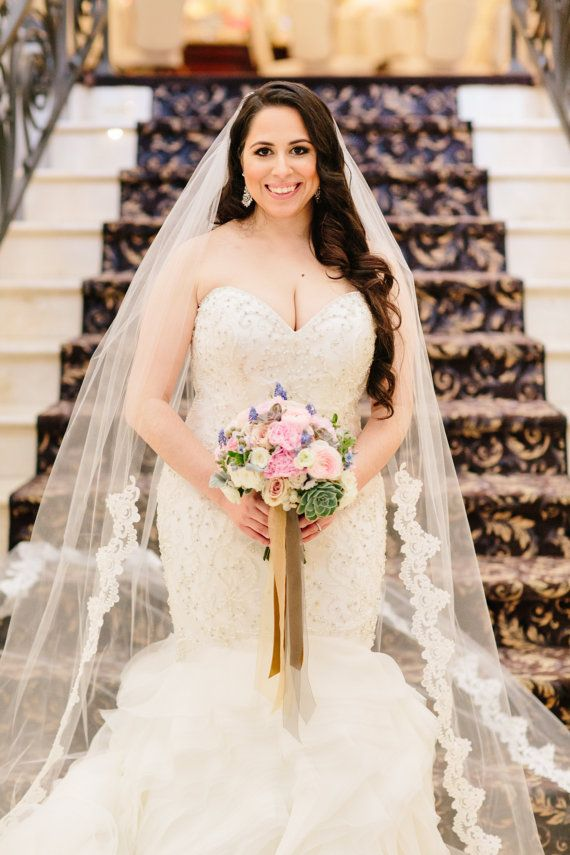 Lace Wedding Veil Laced To Waist