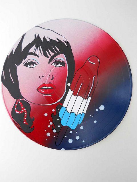 Bomb Pop Bettina  acrylic on vinyl record  Artist: Tigerbee Arts  http://www.tigerbeearts.com