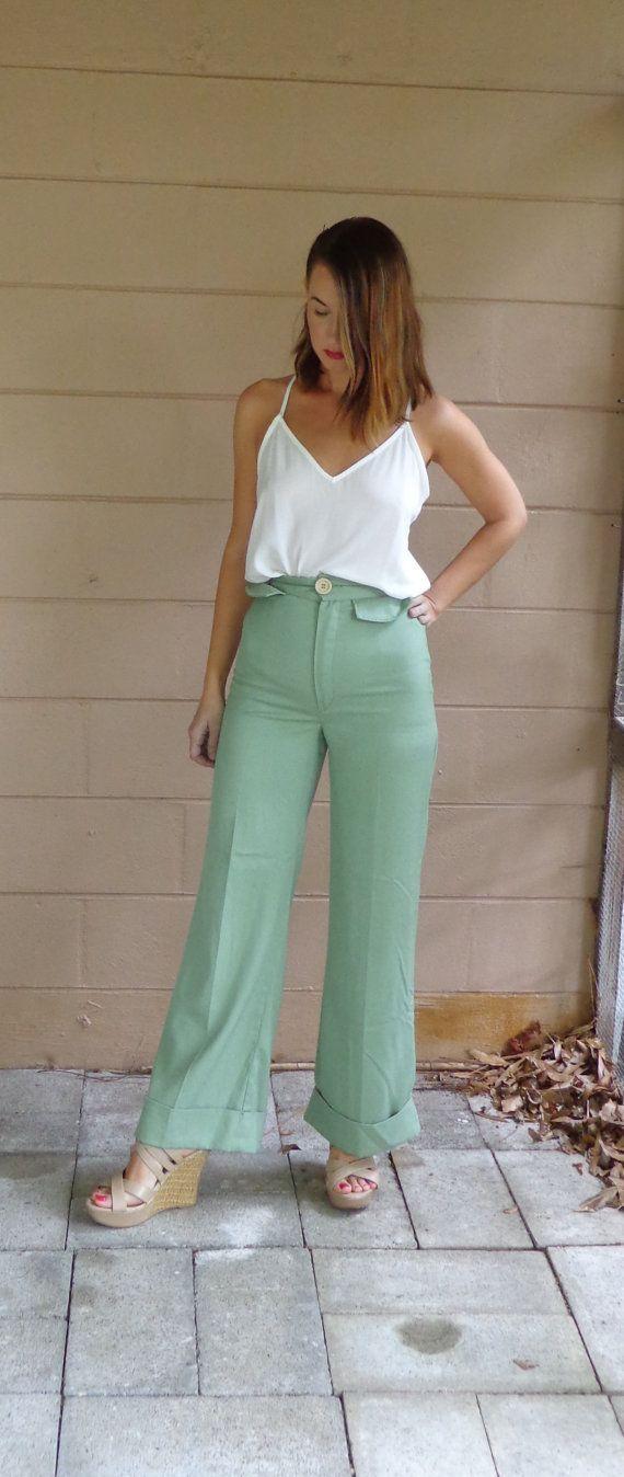 #vintage Wide Leg Trouser Pants #etsy #ShopBabyBird