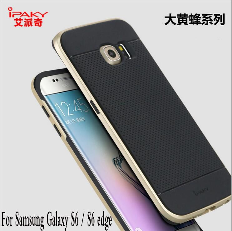 ipaky Luxury Armor Case For Samsung Galaxy S6 S6 edge G9200 Silicone Back Cover + PC Frame For Samsung Galaxy S6 edge cases