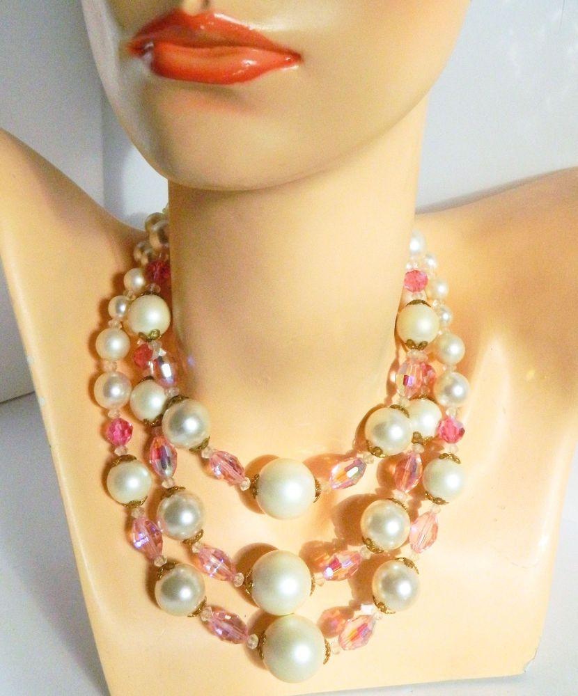 "Vtg Chunky  Huge Pearl+Pink Watermelon Bead 3 Strand Necklace 16""- 19"" #Unbranded #StrandString"