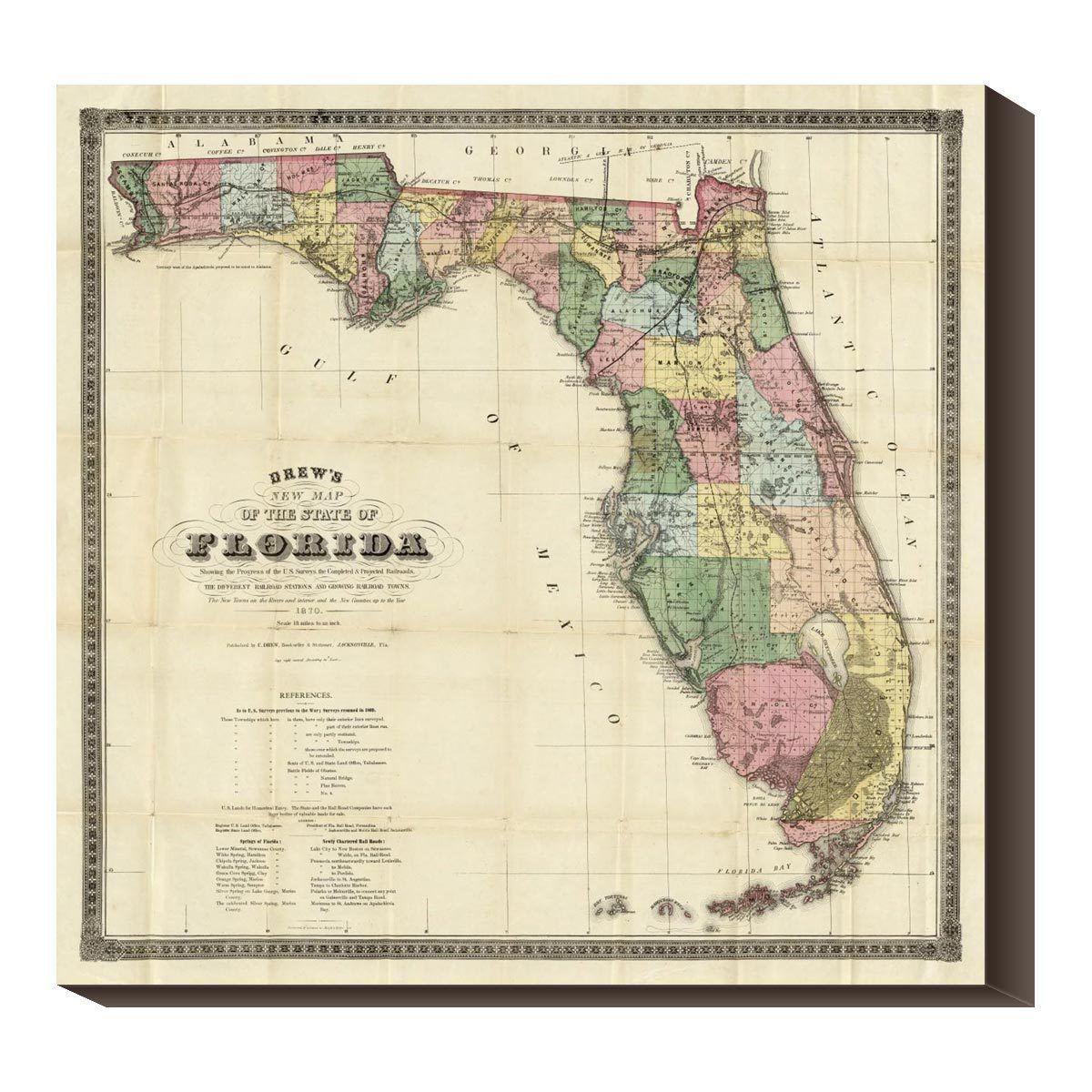 Florida Tech Map.12 Fab Com Florida 1870 40x40 Map Placard Pinterest Tech