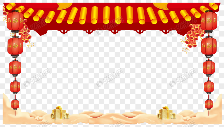 New year Chinese style border Chinese New Year Wind Frame
