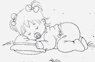 Desenho Bebe Menina Dormindo Com Chupeta E Travesseiro Para Pintar