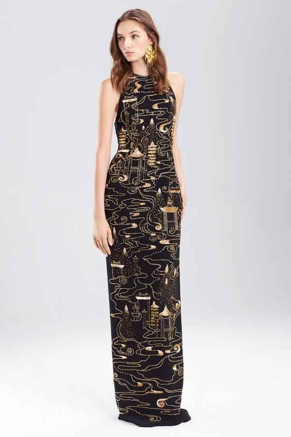 6eb8178f33 Josie Natori Clothing Crepe Halter Dress With Gold Beading ...
