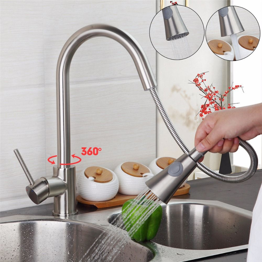 Modern New Brushed Nickel Kitchen Faucet Pull Out Single Handle - New kitchen faucet