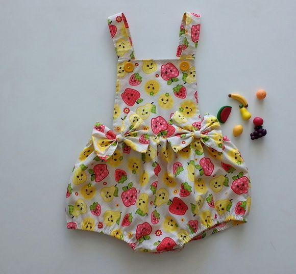 dd4485a5e Jardineira frutas Jardineira Para Bebe, Roupa De Bebe Menina, Vestido  Infantil Festa, Vestidos