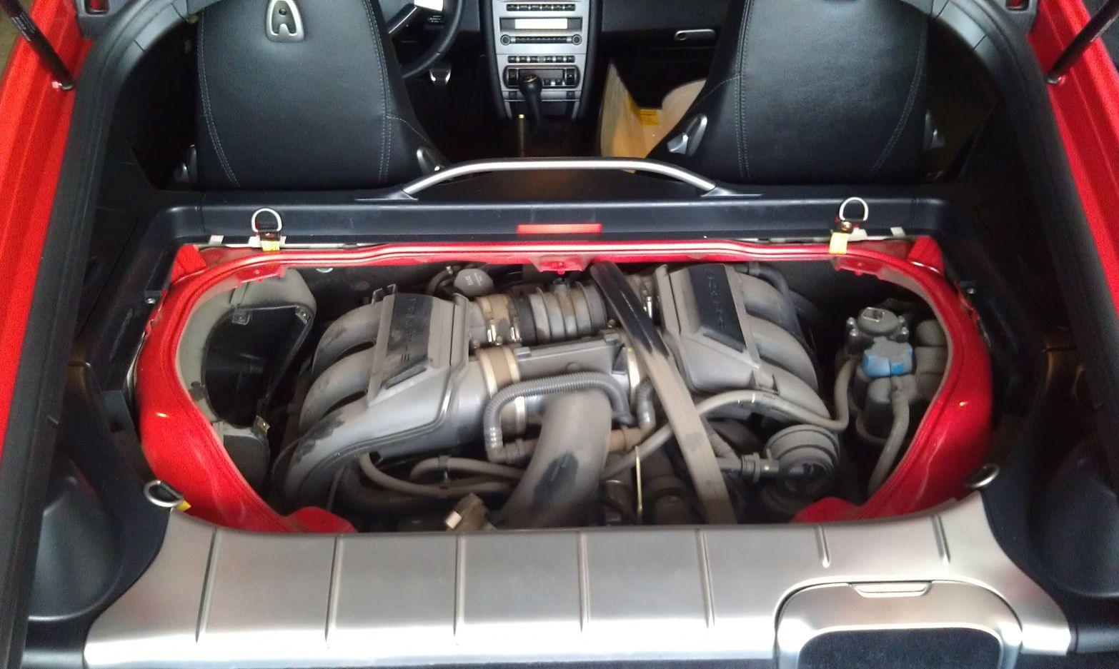 porsche cayman engine bay painted manifolds transparent engine cover installed
