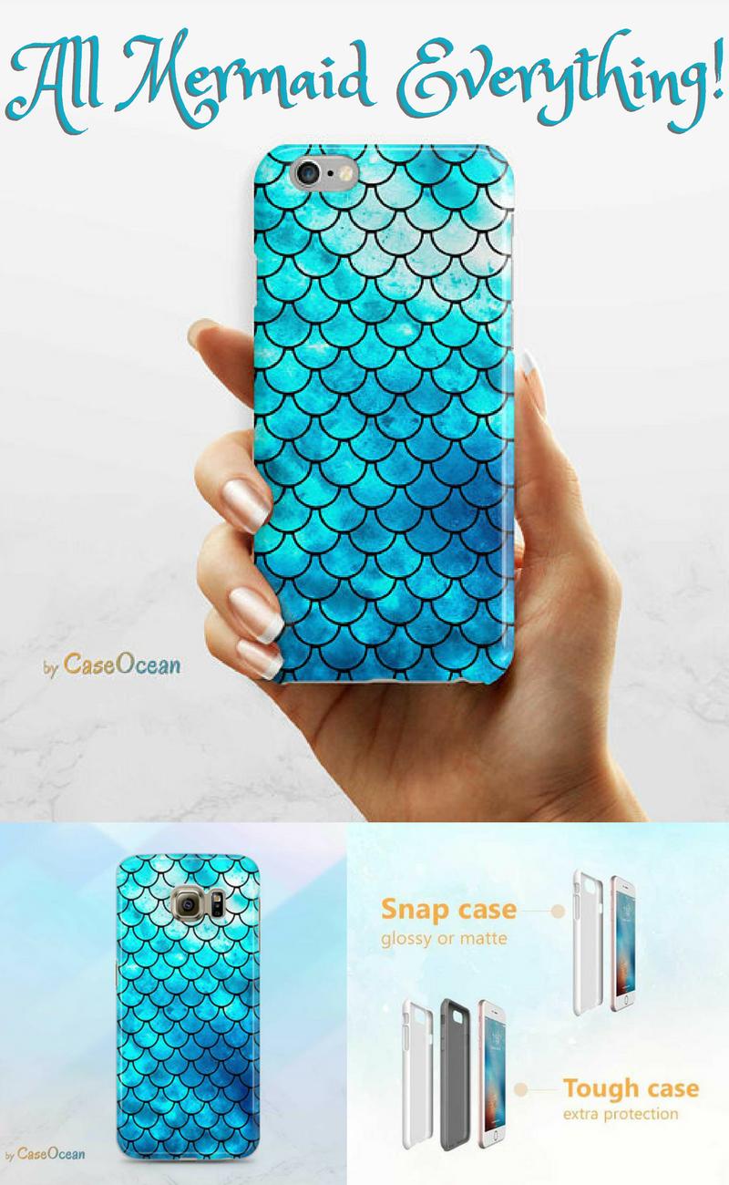 newest 3e4a4 c41cd BLUE MERMAID scale phone case iPhone X 8 7 6 6s Plus phone case ...