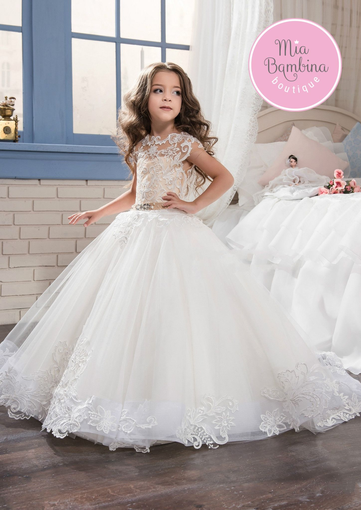 Flower Girl Dresses Wedding Party Dress Tea Length Flower Girl Dresses White Appliques O Neck Long Sleeves Lace Kids Flower Girl Dresses Abendkleider Kinder Reliable Performance