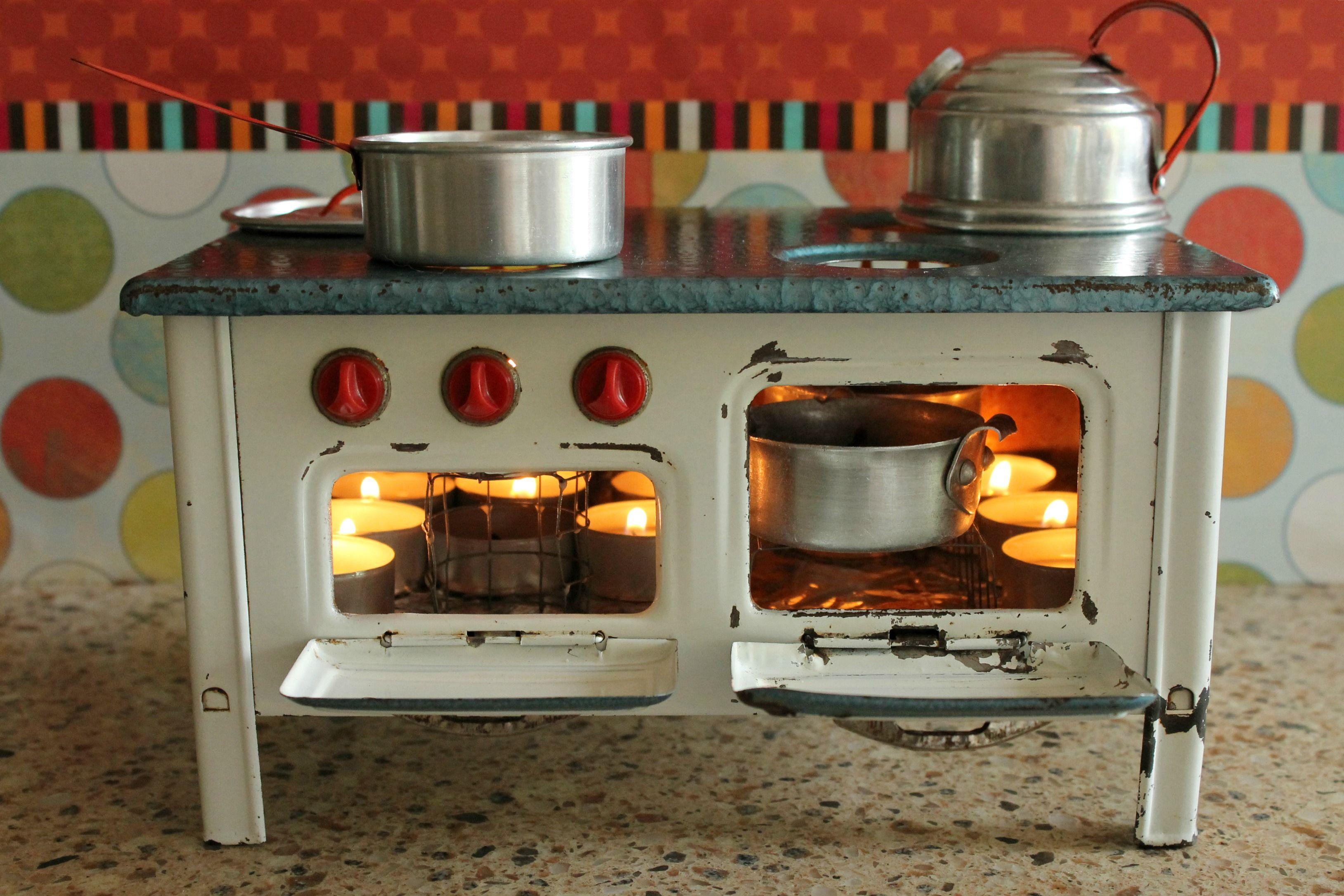 Vintage large s metal toy stove creative corner pinterest