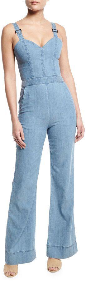 19a82463ad5 Alice + Olivia Crystal Wide-Leg Denim Overall Jumpsuit