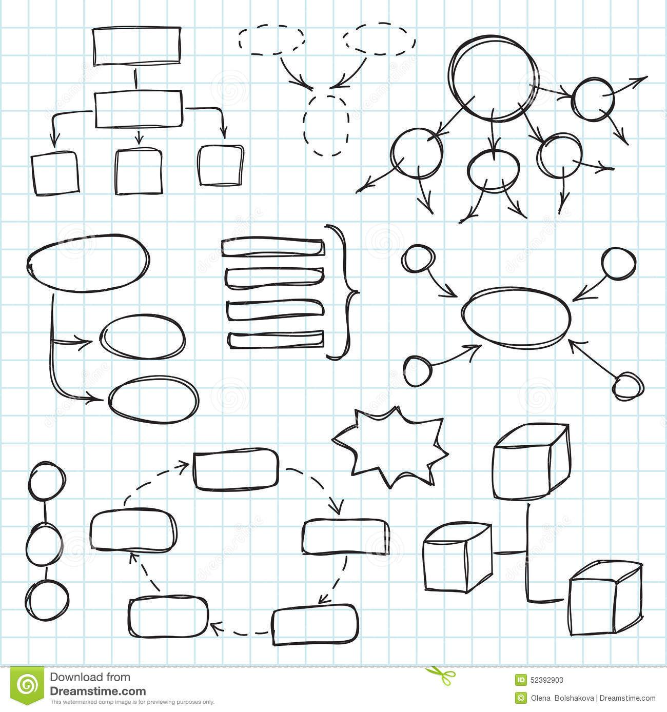 Hand Draw Doodle Sketch Mind Map Blank Flow Chart Stock Photo