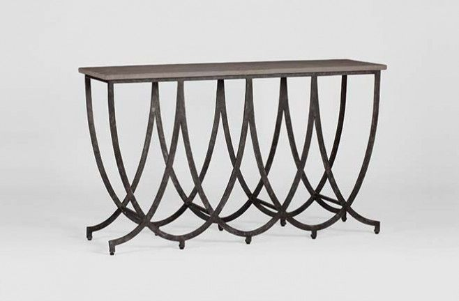 Transitional Iron Wilton Console Table Concrete Top Gabby Sch 240535 W 59 D 18 H