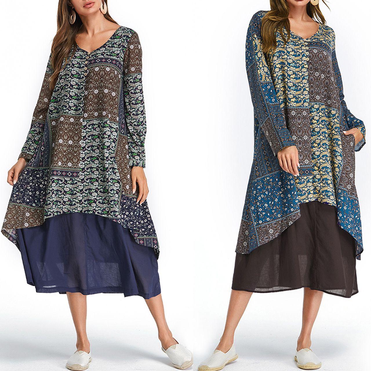 Vintage Floral Print Patchwork Long Sleeve Dress With Pockets Plus Size Vintage Dresses Vintage Dresses Stylish Women Fashion [ 1280 x 1280 Pixel ]