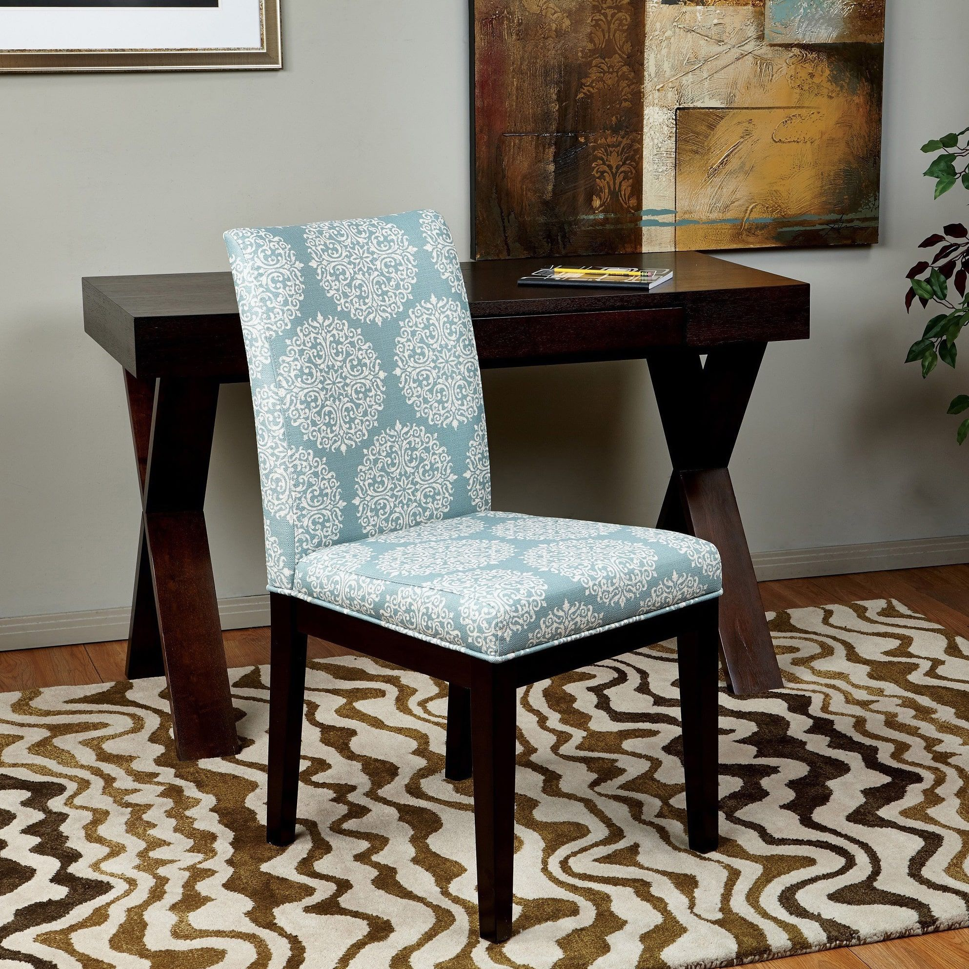 Office Star Products Parsons Versailles Medallion Upholstered Armless Chair Blue White Print