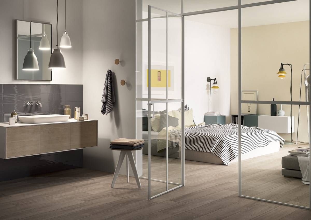 Bathroom and bedroom fluid space decor idea with Q-Style tile from  Cooperativa Ceramica d'Imola.
