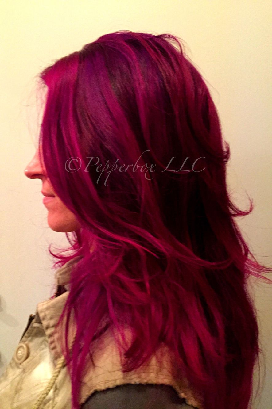 Hair Color By Sara Reed Using Pravana Vivids Wild Orchid Magenta And Violet With Images Pravana Hair Color Magenta Hair Orchid Hair Color