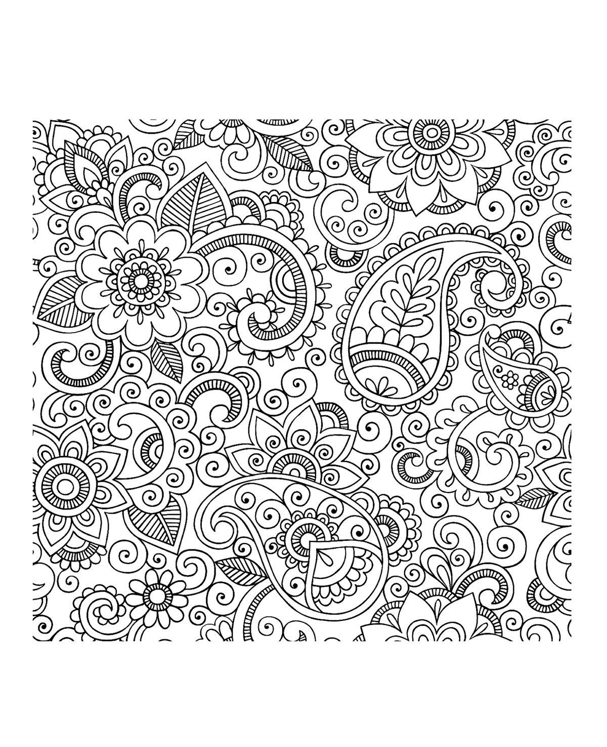 Flower garden coloring pages printable - Adult Coloring Pages Paisley 1