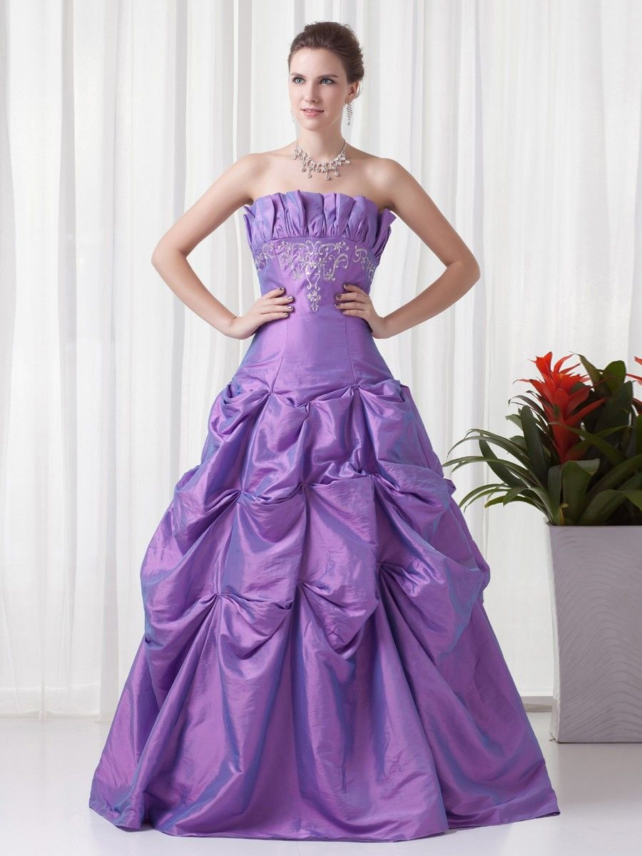 Taffeta Strapless Floor Length Embroidery Princess Prom Dress at ...
