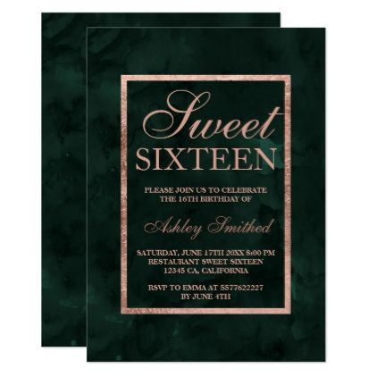 Faux rose gold green watercolor Sweet 16 Invitation | Zazzle.com #sweet16birthdayparty