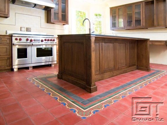 Kitchen with Granada Tile\'s Monarch pattern in a field of coral red ...