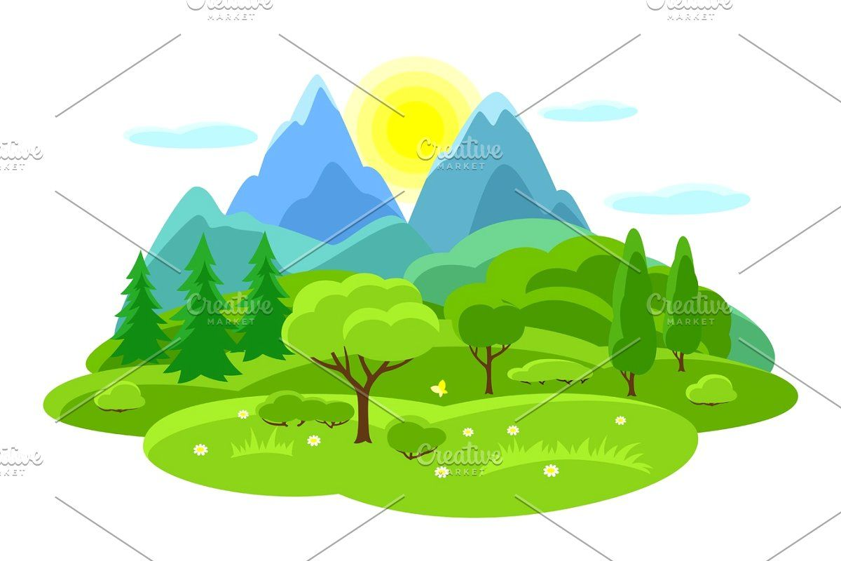 Four Seasons Landscape Illustrations With Trees Mountains And Hills In Winter Spring Summer Autumn In 2020 Summer Landscape Landscape Trees Mountain Illustration